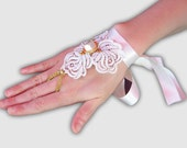 Wedding gloves, Lace Wedding accessory, White lace cuff bracelet, Fingerless Gloves, Lace roses with vintage button.