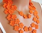 Hand crochet lace necklace, infinity orange necklace, guipure scarf, floral necklace, romantic, elegant, wedding necklace or bracelet ,