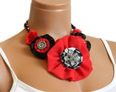 Red Black Fabric Bib Necklace, sexy, flower and antique gray bead, unique valentines gift, personalized design...