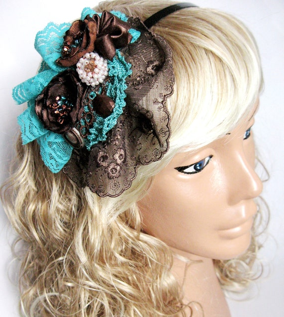Aqua Brown  vintage-style crown. Personalized Hair Accessory