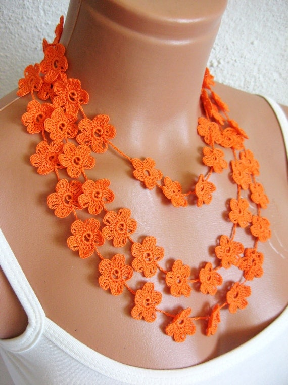 Hand crochet lace necklace, infinity orange necklace, guipure scarf, floral necklace, romantic, elegant, wedding necklace or bracelet ,