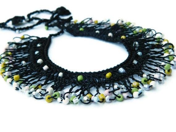 Handmade Black, Multicolor Bib Necklace, Beaded, Turkish Mekik Oya Necklace, Summer Fashion Hand made Necklace...