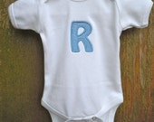 Baby Onepiece Monogrammed and Appliqued with first intiial