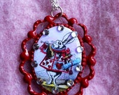 White Rabbit--John Tenniel Illustration. Hand-colored, Crystals, RED Metal Cameo with chain