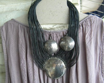 American modernist Roz Balkin 1960s studio tribal sterling fiber necklace and earrings