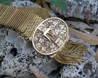 victorian locket tassel buckle  bracelet super wide and detailed.
