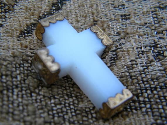 victorian glass cross pin tiny and precious with old GF decorative end caps