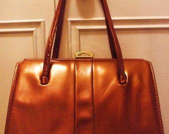 Vintage 1950s Pearlised Leather Handbag by Interwainer in Caramel