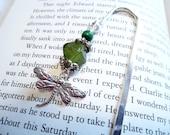 Beaded bookmark, dragonfly, olive jade green, shepherd's hook
