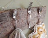 Vintage Wooden Towel Hanger with Silver Spoons &  a Fork