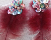 CUSTOME ORDER ,SALE - 20% Fuchsia or Green Feather and Paillettes Earrings
