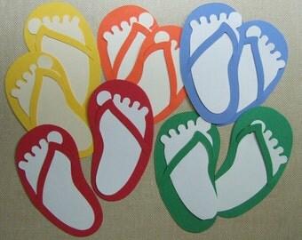 Primary Color Flip Flops & Feet  Die Cuts (Set of 20) Scrapbooking Card Making