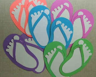 Hot Color Flip Flops & Feet  Die Cuts (Set of 20) Scrapbooking  Card Making