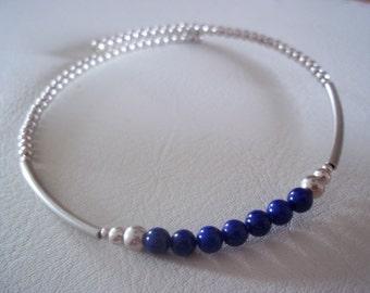 Handmade Blue Lapis Lazuli and Sterling Silver bracelet / bangle