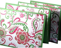 Note cards, pink and green, paisley stationery, floral stationary