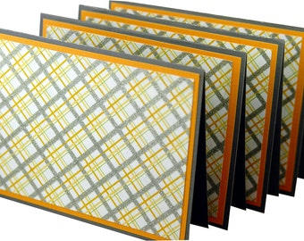 Yellow plaid stationery, preppy note cards, handmade thank you notes