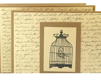 Note card set, vintage print birdcage cards, handmade thank you cards and envelopes, upcycled cards