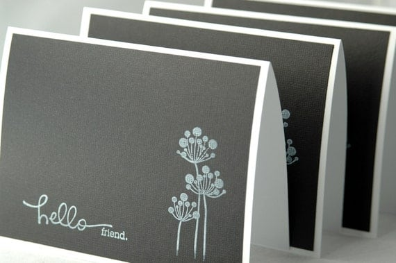 Handmade black and white note cards, modern note cards, thank you notes, greeting cards
