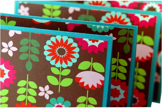 Retro note cards, modern floral print, handmade stationery, stationary set