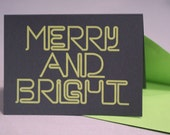 Neon Holiday Cards : MERRY AND BRIGHT Pack of 8