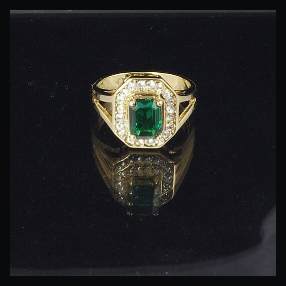 faux gold emerald and costume by aspenvintagejewelry
