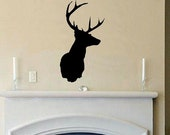 wall decal Deer head silhouette mounted buck rack D2 decal living room camp decor man cave decal for men home decor nature hunting vinyl