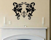 wall decal Damask D1 flourish wallpaper vintage wall decal bedroom decal living room decal wall decor vinyl lettering home decor wall decal