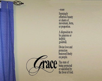 vinyl wall decal quote Grace definition