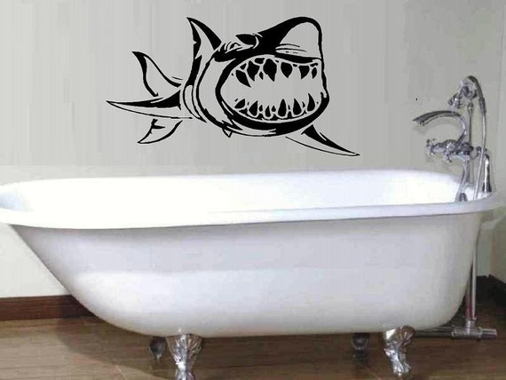 shark wall decal beach decal home decor by walldecalsandquotes. Black Bedroom Furniture Sets. Home Design Ideas