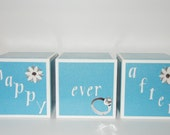 Prettey Decorative Happy Ever After Wooden 2.5 x 2.5  Blue Wedding Blocks for Table Display, Engagement Photo Prop or Anniversary