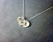 Personalized Three Initial Discs Necklace - In Sterling Silver
