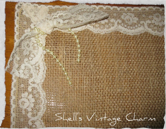 Shabby Chic  LACE and BURLAP Placemats