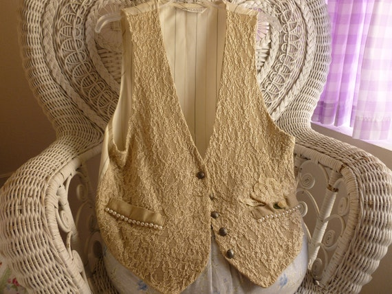 Lace and Pearls Ladies  Vest