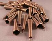 30 Decorative copper cones 1 5/8 x 6/8 inches Bead Caps Bead Cones Earring Findings