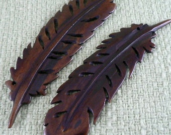 2 Carved Bone Feather 3 1/2 inches length x 1 inch wide