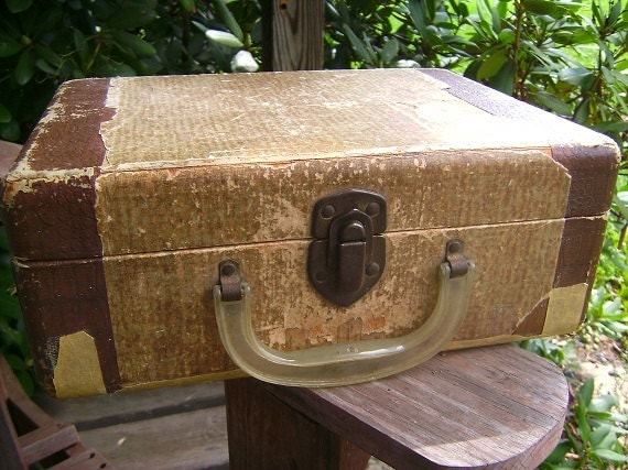 RESERVED - Small Vintage Display Container Storage Travel Tote Case