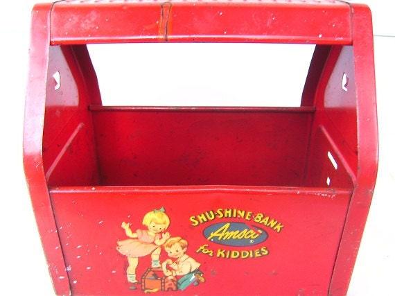 Vintage Amsco Shu Shine for Kiddies Shoe Shine Tin Box Tote Container Display Shu Shine Bank Red Tin Girl and Boy