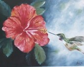 Limited Edition Signed Lithograph Hibiscus and Hummingbird