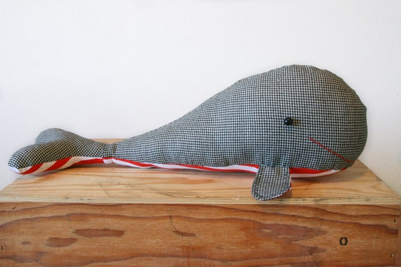 RESERVED Stuart, the Houndstooth and Red and White Striped Whale Stuffed Animal, Softie, Plushie