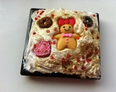 Diy kitsch decoden kawaii black pocket hand mirror - gingerbread man :)