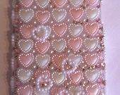 Iphone 4   case / cover - Valentine pearl hearts and champagne rhinestones - bling / decoden