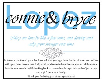 Wine Bottle Guest Book Sign -DIGITAL FILE ONLY