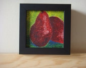 """Pears - 4"""" X 4"""" acrylic painting, framed, ready to hang"""