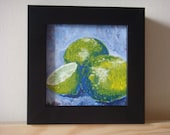 """Limes - 4"""" X 4"""" acrylic painting of limes, framed"""