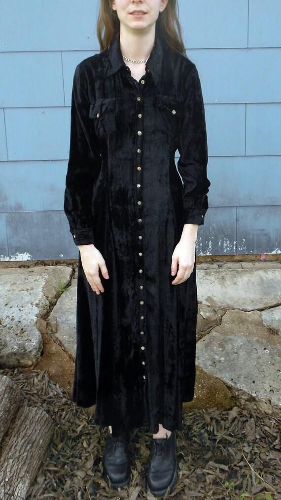 90s Velvet Dress Black Crushed Velvet Goth Long Dress Small