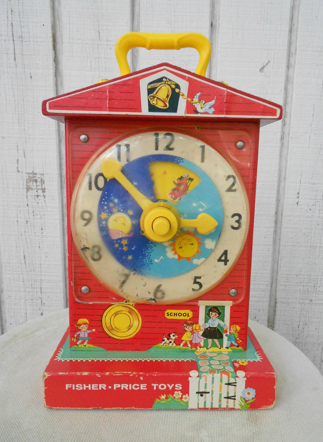 Fisher Price Toy Clock Vintage 60 S Child S Teaching