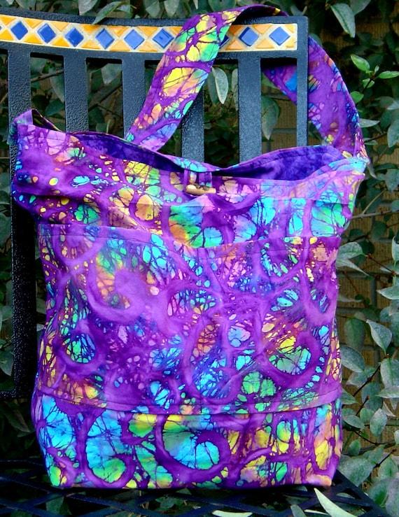 Beautiful handmade batik diaper bag, purple batik print