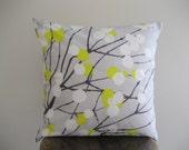 Marimekko Yellow and White Berries on Gray Lumimarja Pillow Cover - 16x16 in