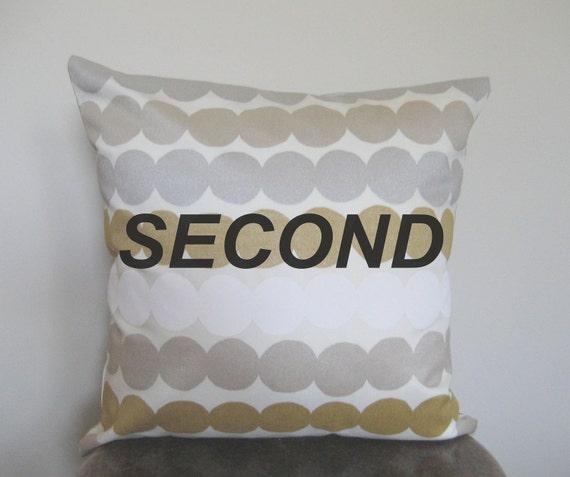 SECOND - Marimekko Metallic Silver, Gold, White Polka Dot Pillow Cover - 16x16 in