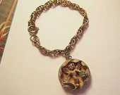 Vintage August Peridot Green Rhinestone Angel Charm Bracelet